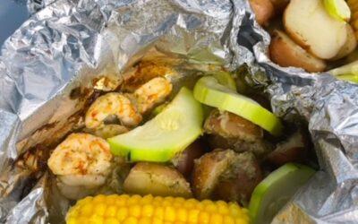 Lemon Artichoke Grilled Shrimp Foil Packets